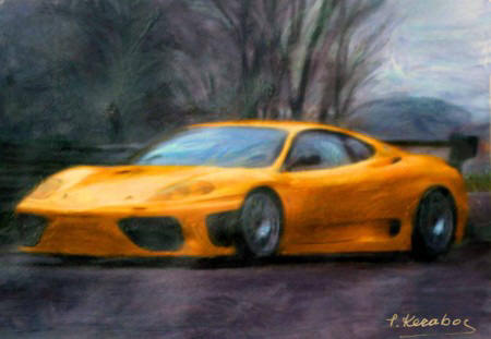Abstract art painting Ferrari (450 x 311)
